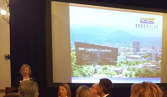 Kit Cramer speaks during 2016 Asheville Chamber of Commerce Legislative Luncheon