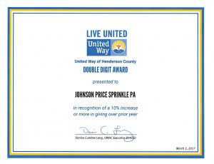 Johnson Price Sprinkle PA (JPS) Double Digit Award United Way Henderson County