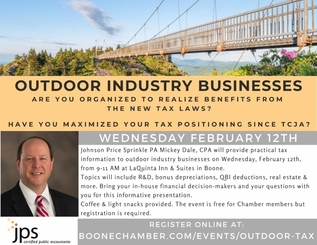 Outdoor Industry Tax Presentation Mickey Dale Boone NC February 12 2020